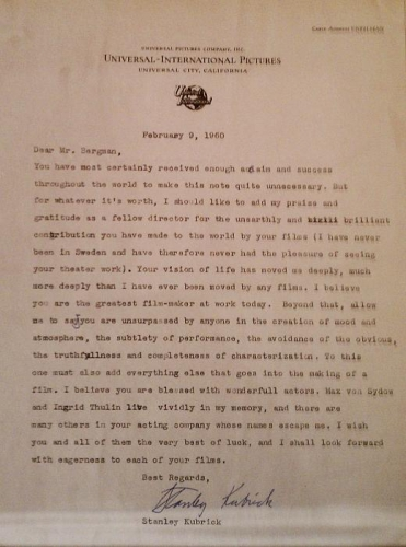 Ingmar Bergman,kubrick,lettre